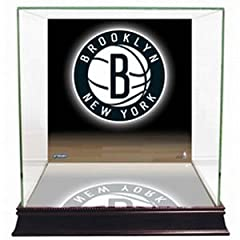 NBA New Jersey Nets Glass Basketball Display Case with Team Logo Background by Steiner Sports