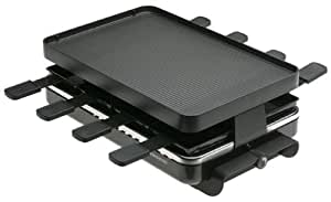 Swissmar KF-77041 8-Person Classic Raclette Party Grill with Aluminum Non-Stick Grill Plate (Black)