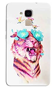 Omnam Female Lion Enjoying With Butterly Printed Designer Back Cover Case For Huawei Honor 5C