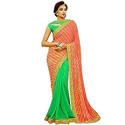 Vasu Saree Bandhani Saree Orange Chiffon Leheriya Printed Stripes Designer Saree
