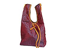 Geroo Red silk pintuck potli bag with sequins work