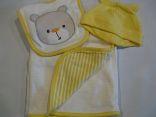 First Moments Baby 3 Piece Teddy Layette Bib, Blanket and Cap