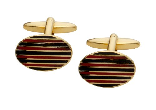 Code Red Gold Plated Oval Cufflinks with Black and Red Stripes