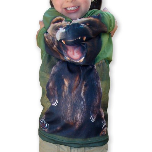 Mouth Man Unisex-Child Grizzly Bear Hoodie Shirt Green 12