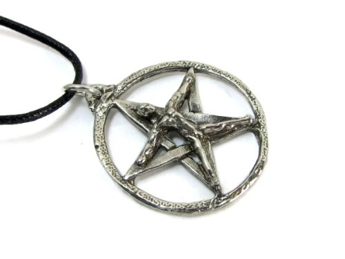 The Pentacle Man Pewter Pendant on Cord Necklace, The Wiccan Collection