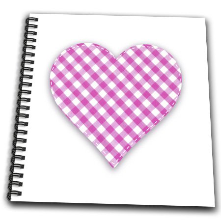 Db_184875_1 Inspirationzstore Love Series - Pink Gingham Heart - Diagonal Hot Pink Check Pattern On Love Heart - Drawing Book - Drawing Book 8 X 8 Inch front-89284