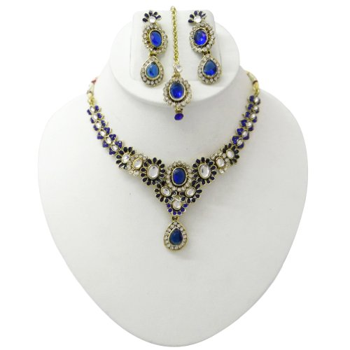 Royal Blue Gold Tone CZ Designer Necklace Earring Set Indian Bridal Wedding Ethnic Women Costume jewellery Gift