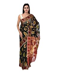 A1 Fashion Women Brasso & Net Black Saree With Blouse Piece