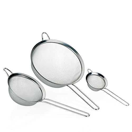Kela 11074 lot de 3 passoires de cuisine, diamètres 20 - 14 - 8 cm, acier inoxydable, 'Profi'