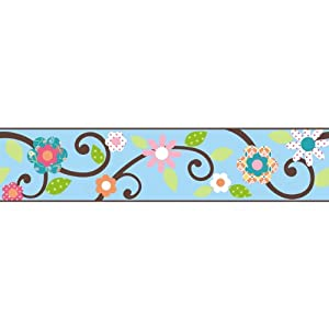 RoomMates - Cenefa decorativa autoadhesiva para pared, diseño floral, color azul en BebeHogar.com