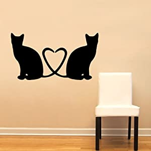 Cats heart love cute wall decal sticker home decoration for Cute gold heart wall decals