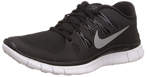 Nike Womens Free 5.0+ Running Shoe (7.5 B(M) US, Black/Metallic Silver/Dark Grey/White)