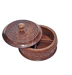 JGC Wooden round Dryfruit box8x8 inch