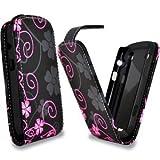 Accessory Master E69 - Funda de piel con diseño de flores para BlackBerry Curve 8520, color negro y rosa