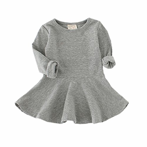 Infant Toddler Baby Girls Dress Pink Ruffle Long Sleeves Cotton (9-12m(80), Gray)