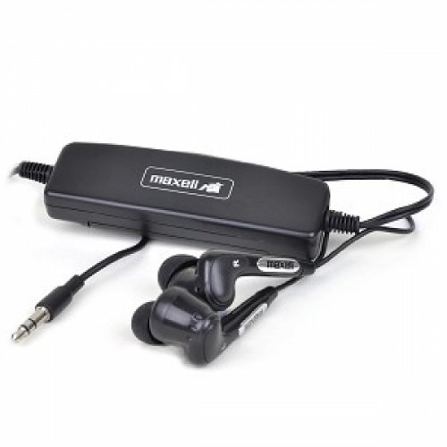 Maxell Nr/Eb-I Noise Canceling Earbud Stereo Headphones W/3.5Mm Jack Dual Plug Airline Adapter &