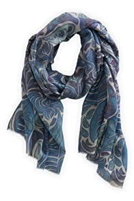 Asian Eye Fair Trade Wool/Silk Blue Macaw Scarf (Blue)