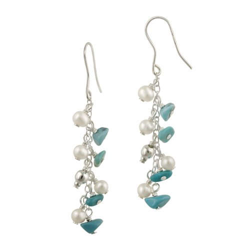 Sterling Silver Turquoise and Freshwater Cultured Pearl Multi Drop Linear French Wire Earrings