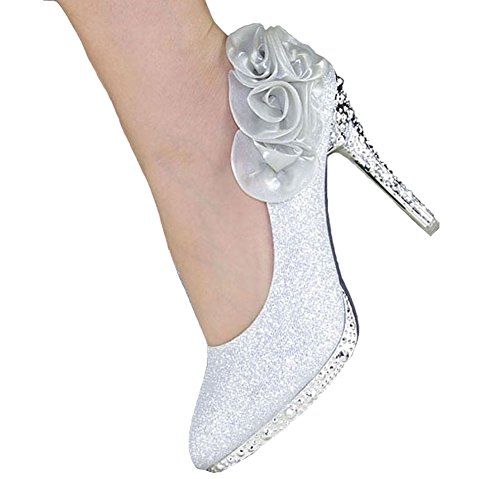 Getmorebeauty Women's Silver Rose Flower Crystal Glitter Wedding Shoes 6 B(M) US