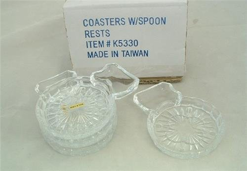 Decorative Glass Coasters With Spoon/Teabag Rest (Set Of 4)