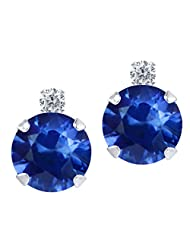 2.19 Ct Round Blue Sapphire White Diamond 14K White Gold Earrings