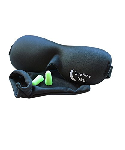 Bedtime Bliss® Contoured & Comfortable Sleep Mask & Moldex® Ear Plugs. Includes Carry Pouch for Eye Mask and Ear Plugs - For Travel, Shift Work & Meditation.