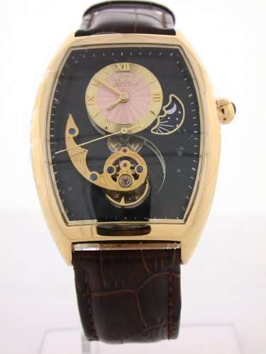 Adee Kaye #AK8024-MRG7 Men's Motif 3-D Sun Moon Partial Skeleton Automatic Watch
