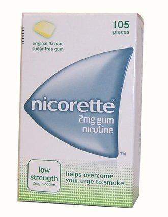 Nicorette Low Strength Nicotine Gum 2Mg Original Flavour 105 pieces