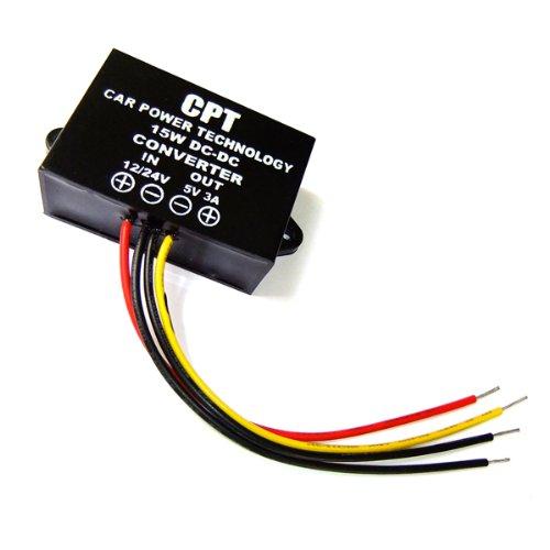 DROK® impermeabile DC-DC Buck convertitore 12V / 24V a 5V 3A Step Down convertitore di tensione modulo di alimentazione per le automobili Audio Display a LED, ecconverter Power Supply Module for Cars Audio LED Display, etc