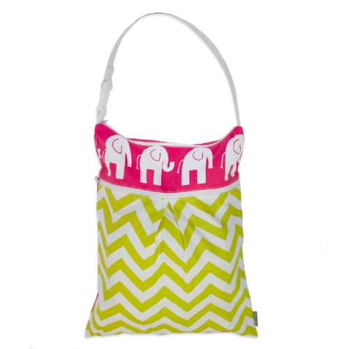 Logan + Lenora Daytripper Wet and Dry Tote - Large Cloth Diaper Wet Bag with Dry Pocket - Beach, Pool, Gym Bag for Swimsuits or Wet Clothes - Made in USA - Waterproof - Chevron (Pink Elephant)