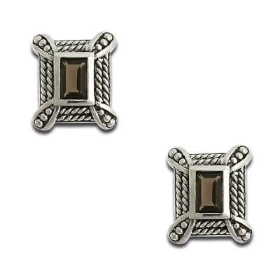 Classic Jewlery 925 Sterling Silver Earrings Rectangle shape with Genuine Smokey Precious Quartz(WoW !With Purchase Over $50 Receive A Marcrame Bracelet Free)