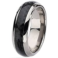 7mm Domed Titanium Ring with Black Carbon Fiber Inlay (Sizes 8-12)