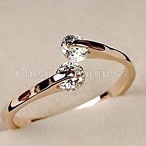 HOT Women 18K Rose gold GP Swarovski Crystal Engagement Wedding Band Ring by elegantstunning