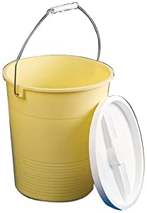 """Bel-Art Scienceware 167720000 Low Density Polyethylene Large Pail with Lid, 14qt Capacity, 10-1/2"""" ID x 12-3/4"""" Height, Yellow"""