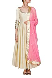 Cream Georgette Embroidered Dress Material