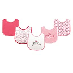 Luvable Friends Fun Prints Drooler Bibs, Pink Princess, 5 Count
