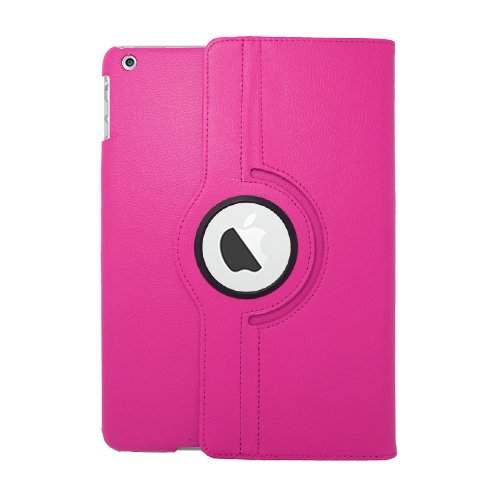 #>>  Apple iPad Air (iPad 5 5th Generation) 360 degree Rotating Case with Leather Texture - Hot Pink