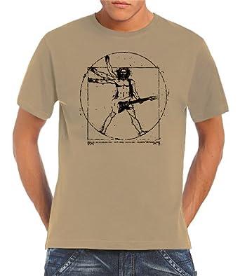 Touchlines T-shirt Da Vinci Rock Guitar pour homme Beige Marron Small