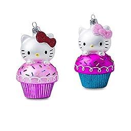 4.5 Hello Kitty Glass Cupcake Ornament by Kurt Adler
