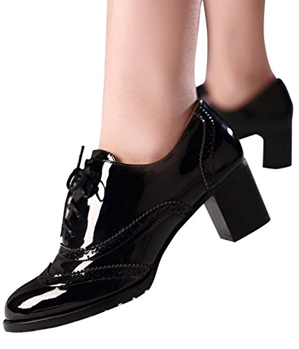 Women's Oxford Dress Pumps WGWJM-Patent Leather-Mid-heel-Hallowmas Shoes 1