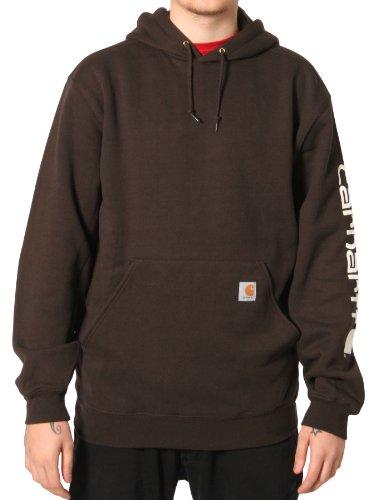 Carhartt K288 Sleeve Logo Sweatshirt Brown Mens Hoodie Top