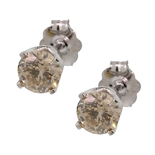 0.60 Ct Round Cut 14K White Gold Champagne Diamond Stud Earrings