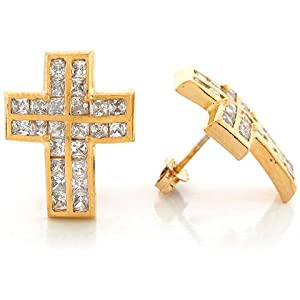 14k Yellow Gold White CZ 1.95cm x 1.50cm Traditional Christian Cross Post Earrings