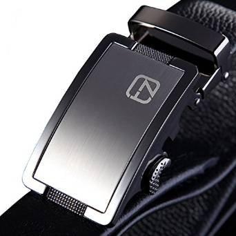 Teemzone Cintura Pelle Uomo Nero 34mm Stile di affari Automatica Fibbia Elegante (Lunghezza 115cm Girovita 98-108cm)
