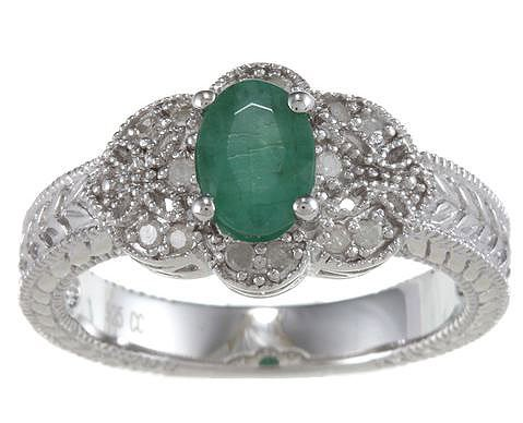 Genuine Oval Emerald Diamond Vintage Style Ring
