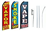 Vapor Shop, Vape Shop Smoke Shop Standard Size Swooper Feather Flag Sign Pk of 3 with Full Assembly