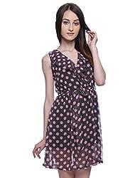Purys Women's Fit & Flare Dress (AP071SP_Grey Pink_L)
