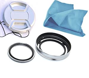 Rainbowimaging Silver 4-in-1 Accessory kit, Metal Lens Hood + Silver Metal Adapter with EBC Coating Filter + Lens Cap + Microfiber cleaning cloth for Fujifilm X20 & X10 Camera, replaces Fujifilm LHF-X20
