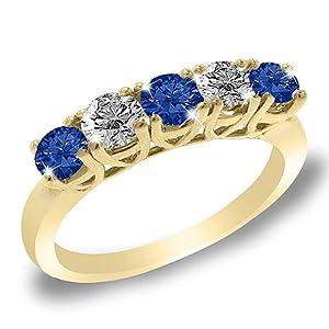5 Stone Round Blue Sapphire & Diamond Bague de Fiançailles en Or Jaune 585/1000 (1/2 cttw) - La Taille 52