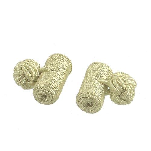 Allegra K Pair Hand Made Khaki Nylon Cufflinks Cuff Links Tie Knot New for Mens